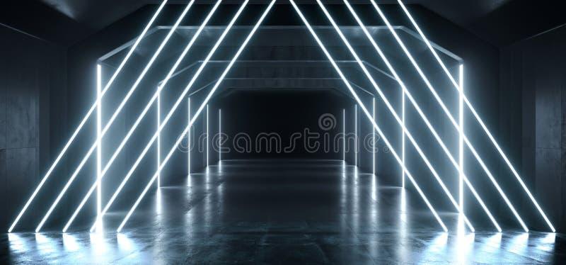 难看的东西科学幻想小说具体隧道太空飞船霓虹白色冰发光的形状三角垂直线管未来派反射性走廊 库存例证