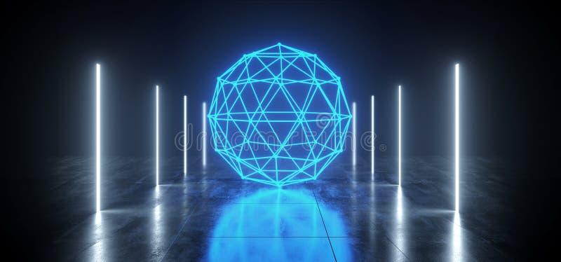 难看的东西科学幻想小说具体隧道太空飞船霓虹蓝色球形白色冰发光塑造垂直线管未来派反射性 向量例证
