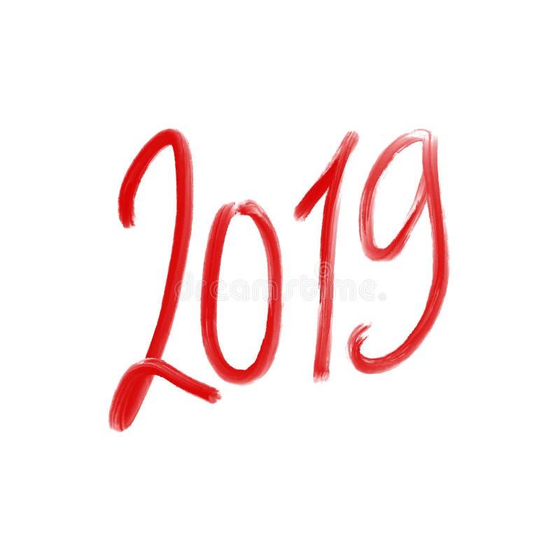 难看的东西红色第2019年,手拉的字法 也corel凹道例证向量 皇族释放例证