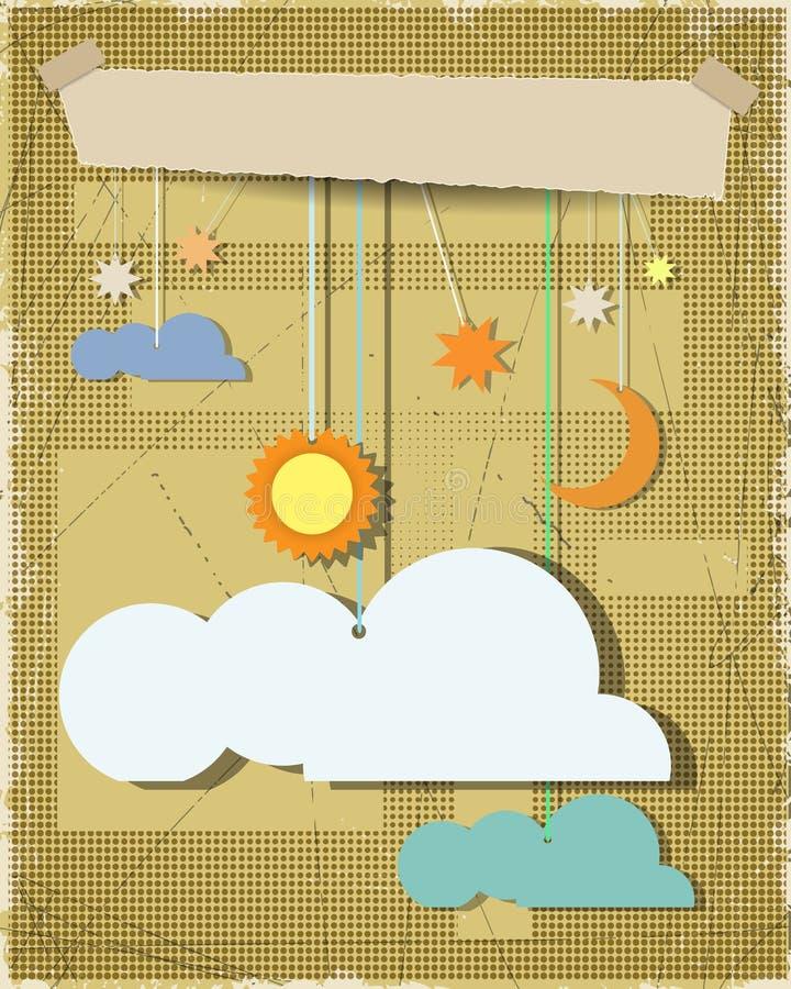 难看的东西纸构造了与太阳,星,与白色云彩的月亮的背景 与地方的空白的云彩设计元素您的文本的 向量例证