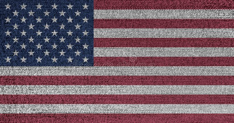 难看的东西美国的退色的旗子 在牛仔布织品的被隔绝的美国横幅 r U S 独立,纪念 库存图片