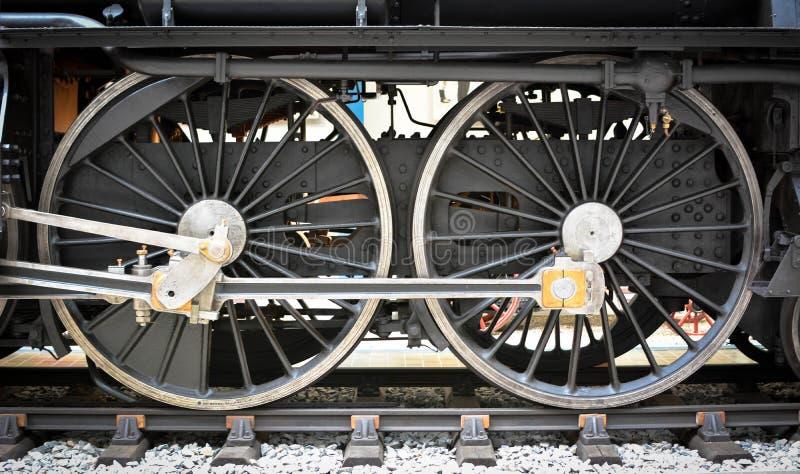 难看的东西老蒸汽机车轮子和标尺 库存图片