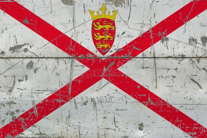 难看的东西老被抓的木表面上的泽西旗子 全国葡萄酒背景 皇族释放例证