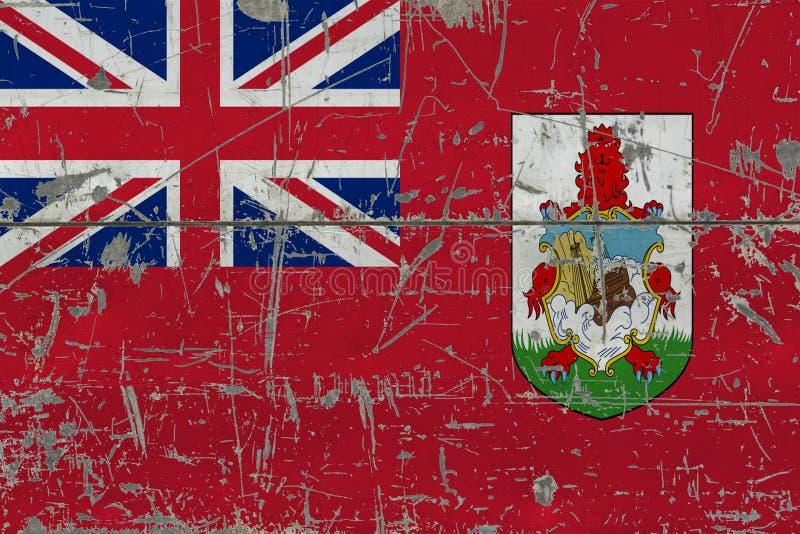 难看的东西老被抓的木表面上的百慕大旗子 全国葡萄酒背景 免版税库存图片