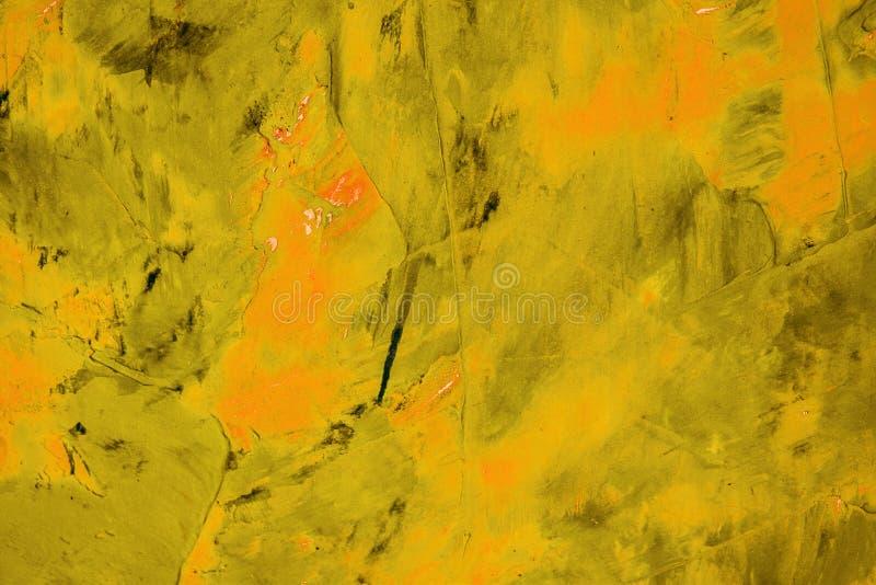 难看的东西背景以与空间的黄色文本或图象的 抽象纹理,黄色油漆的样式在帆布,背景的 免版税库存照片