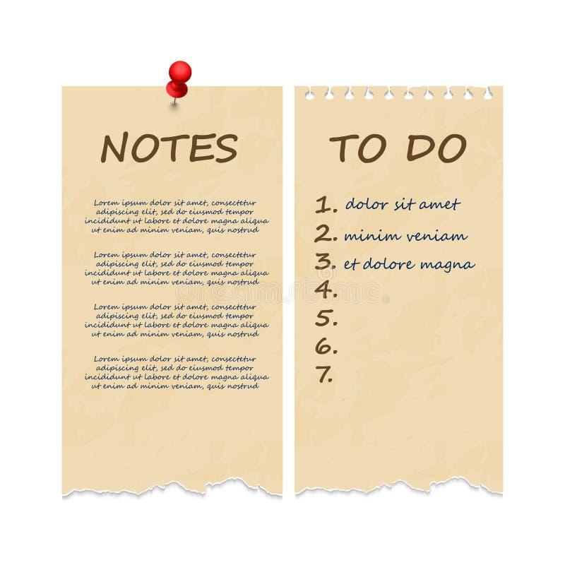 难看的东西葡萄酒剥去了笔记的笔记本页和做名单 向量例证