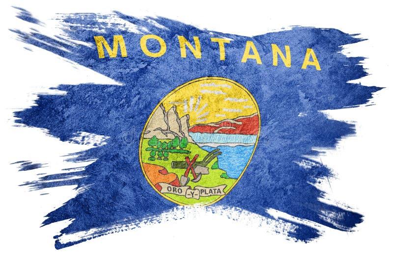 难看的东西蒙大拿状态旗子 蒙大拿旗子刷子冲程 库存例证