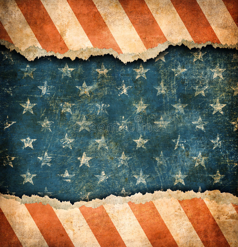 难看的东西被剥去的纸美国旗子 库存例证