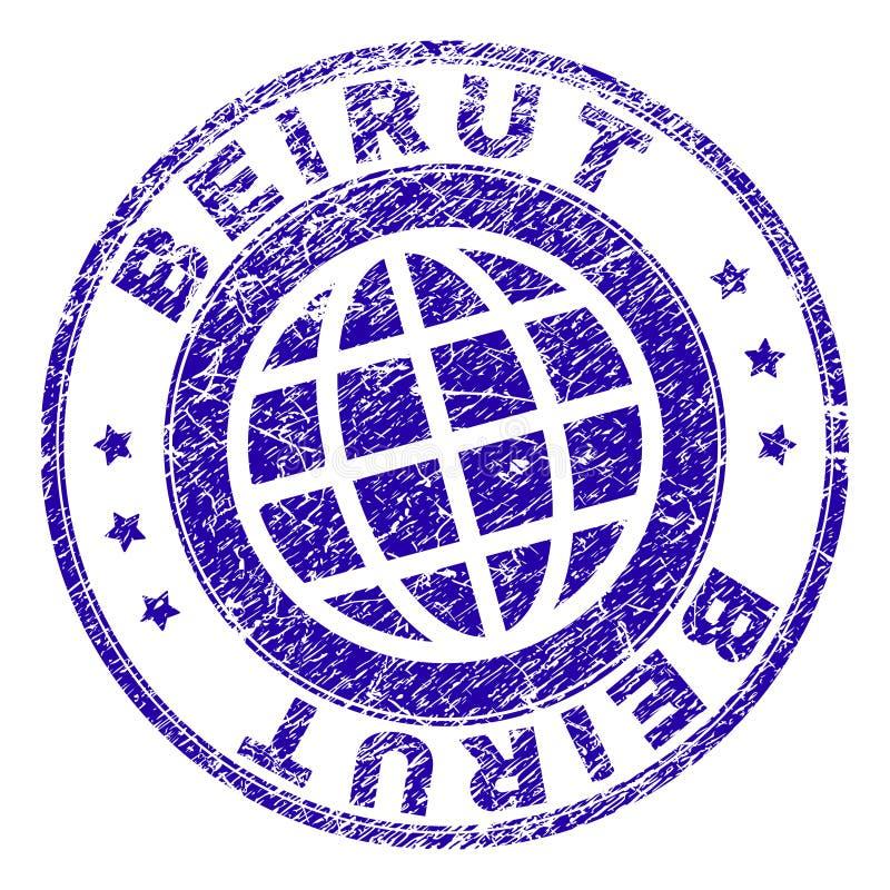难看的东西被构造的贝鲁特邮票封印 库存例证