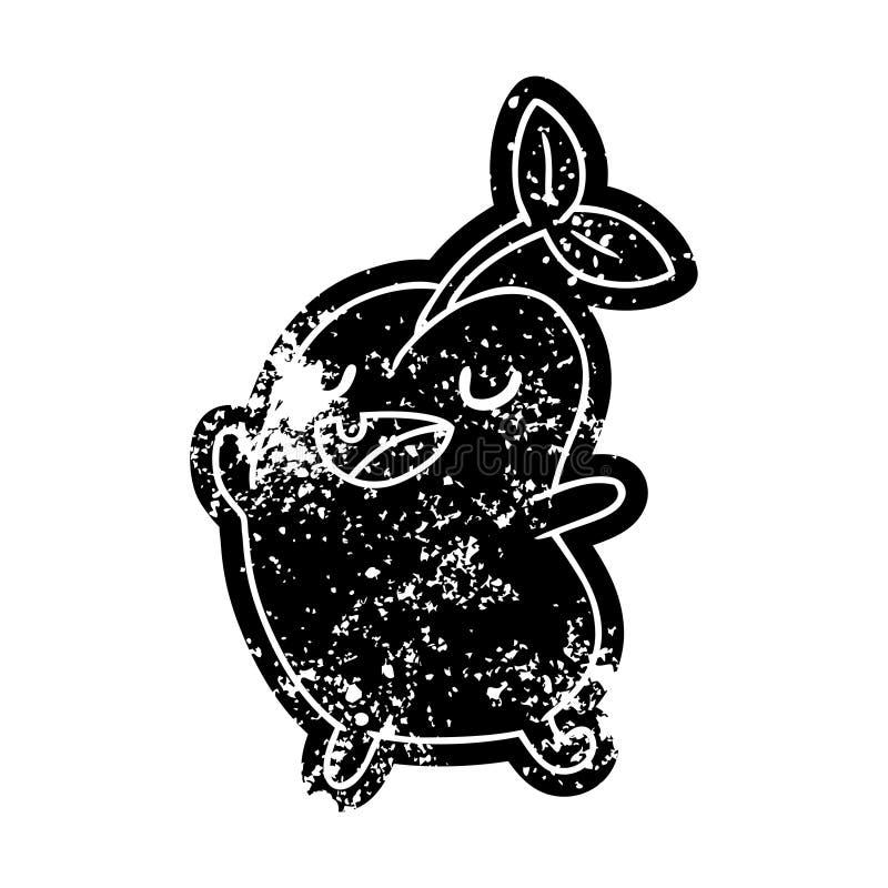 难看的东西象kawaii逗人喜爱的发芽豆 向量例证
