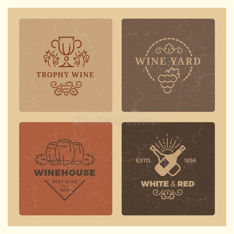 难看的东西酒商标 葡萄酒行家酒传染媒介象征 皇族释放例证