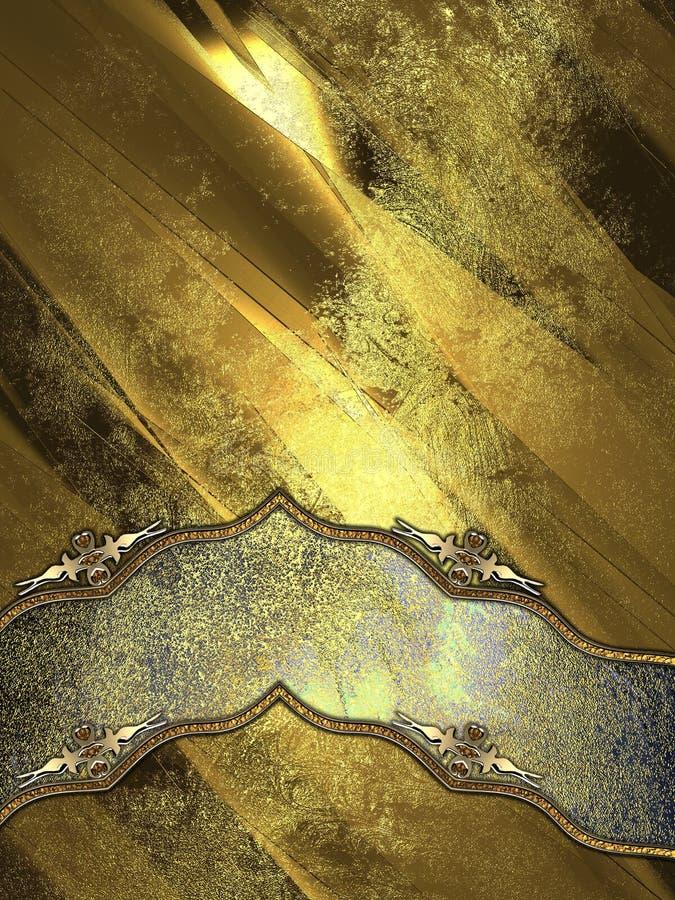 难看的东西金属与典雅的丝带的金背景 免版税库存图片