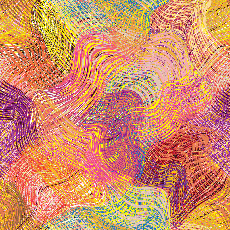 难看的东西镶边波浪对角彩虹无缝的样式 向量例证