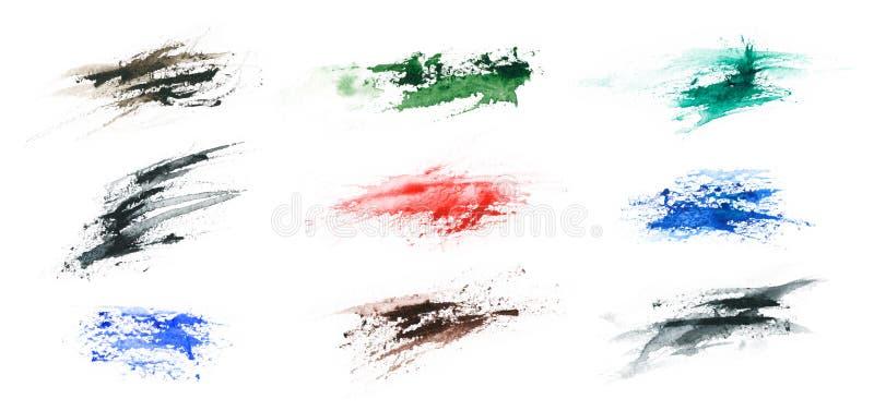 难看的东西颜色在白色背景飞溅隔绝 构造设计的形状 抽象派图画 手工 皇族释放例证
