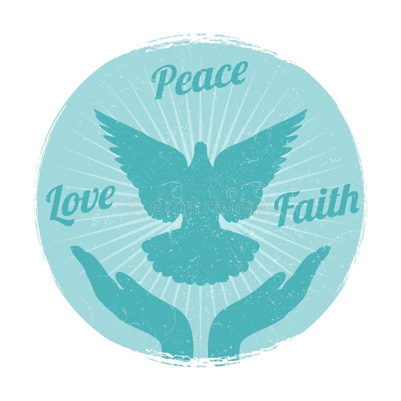 难看的东西鸠从手的和平飞行 爱、自由和宗教信念传染媒介 皇族释放例证