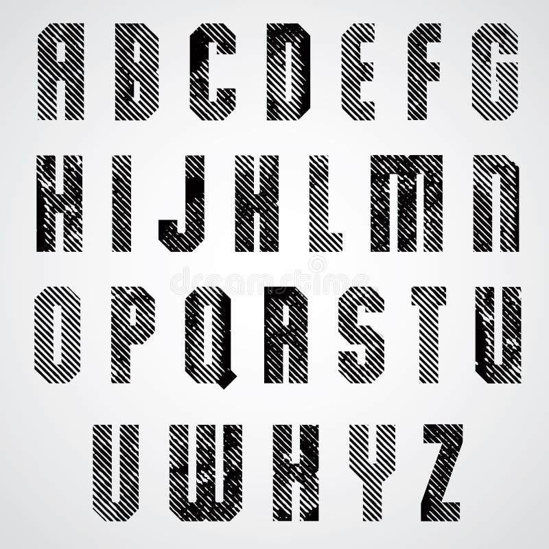 难看的东西黑色摩擦了大写字母,装饰镶边字体  向量例证