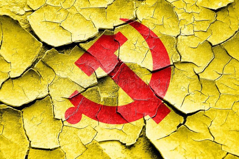 难看的东西崩裂了与红色和黄色颜色的共产主义标志 免版税库存照片