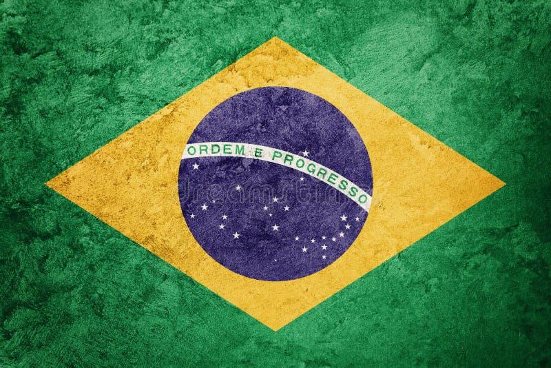 难看的东西巴西旗子 与难看的东西纹理的巴西旗子 库存图片