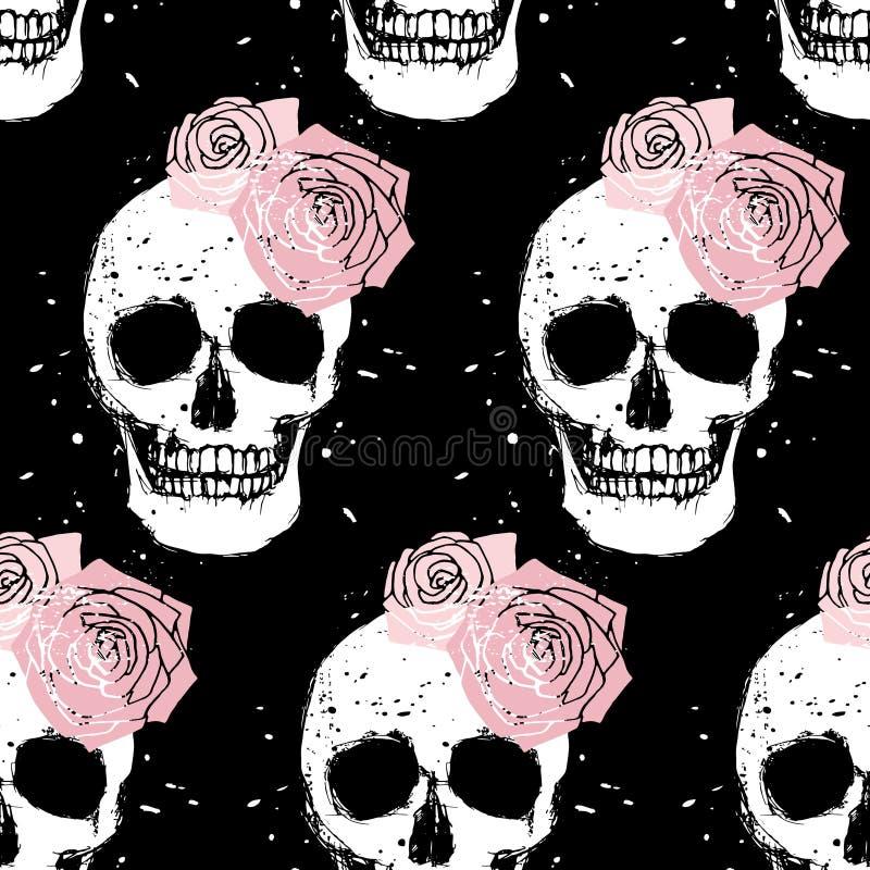 难看的东西头骨和玫瑰无缝的样式 皇族释放例证