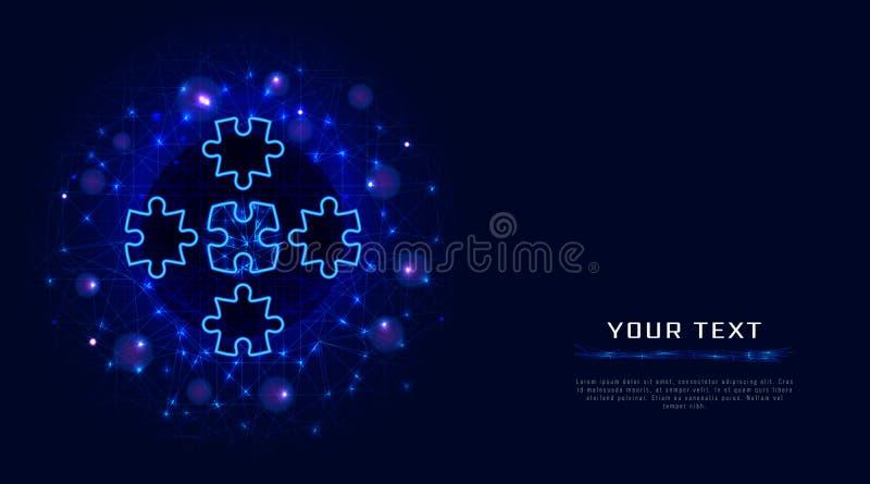 难题元素在与wireframe的抽象多角形背景设计 配合,合作,合作经营战略 皇族释放例证