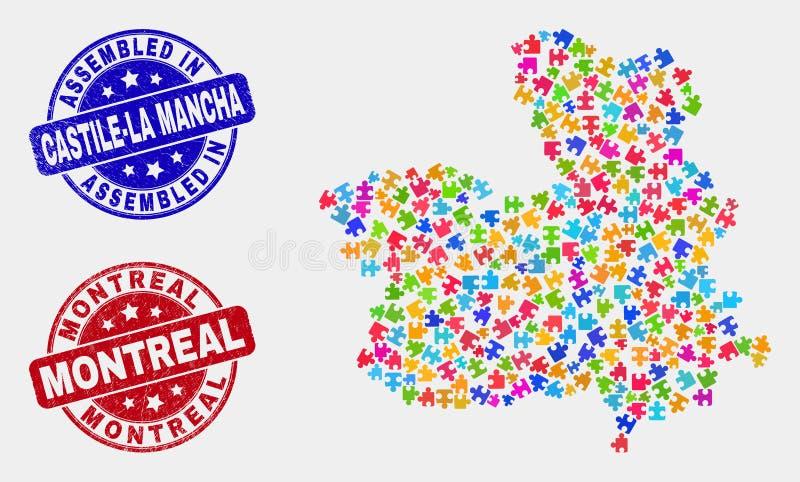 难题卡斯蒂利亚-拉曼恰省地图和难看的东西被装配的和蒙特利尔邮票 向量例证