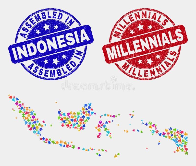 难题印度尼西亚地图和难看的东西被装配的和Millennials邮票封印 库存例证