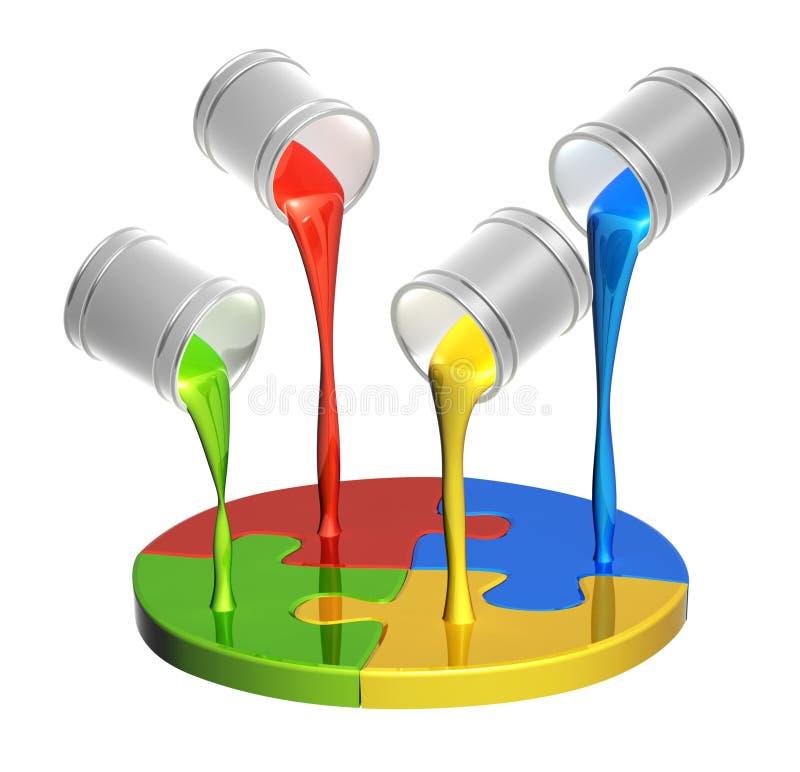难题和油漆的部分 向量例证