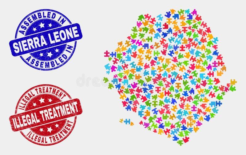 难题塞拉利昂地图和难看的东西被装配的和非法治疗邮票封印 向量例证