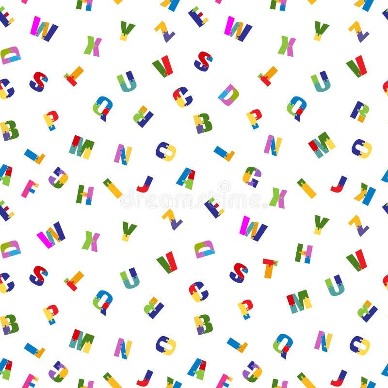 难题字体无缝的样式 聪慧的小学生,五颜六色的玩具字母表 背景查出的白色 向量 皇族释放例证
