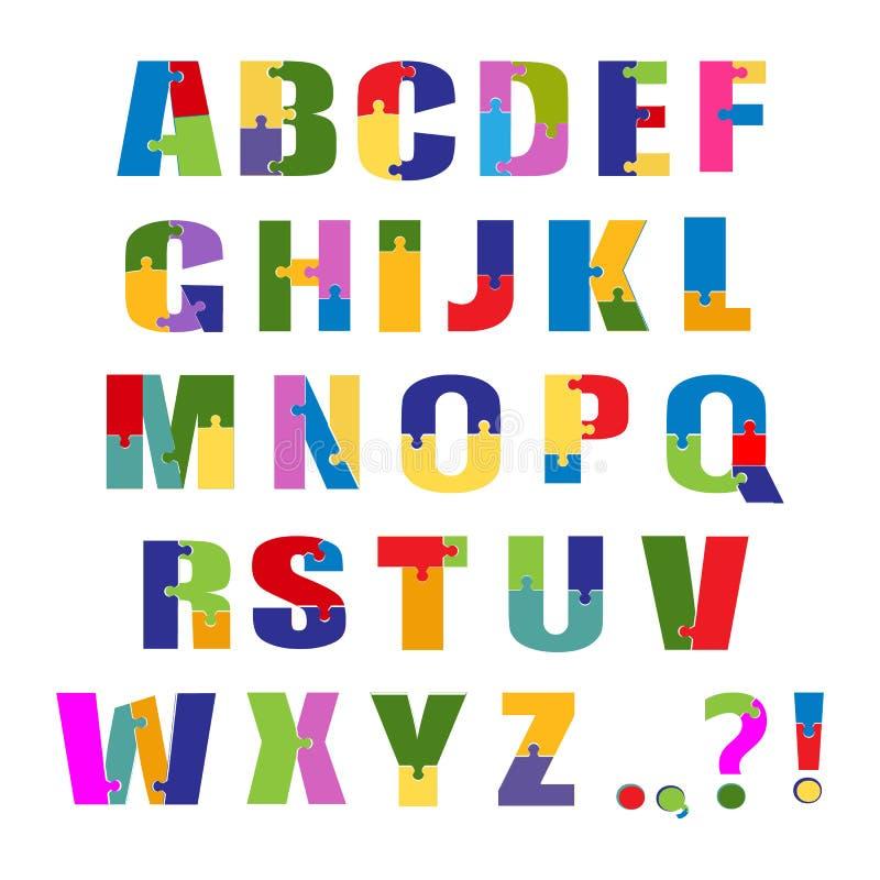 难题字体 小学生玩具字母表 背景查出的白色 向量 库存例证