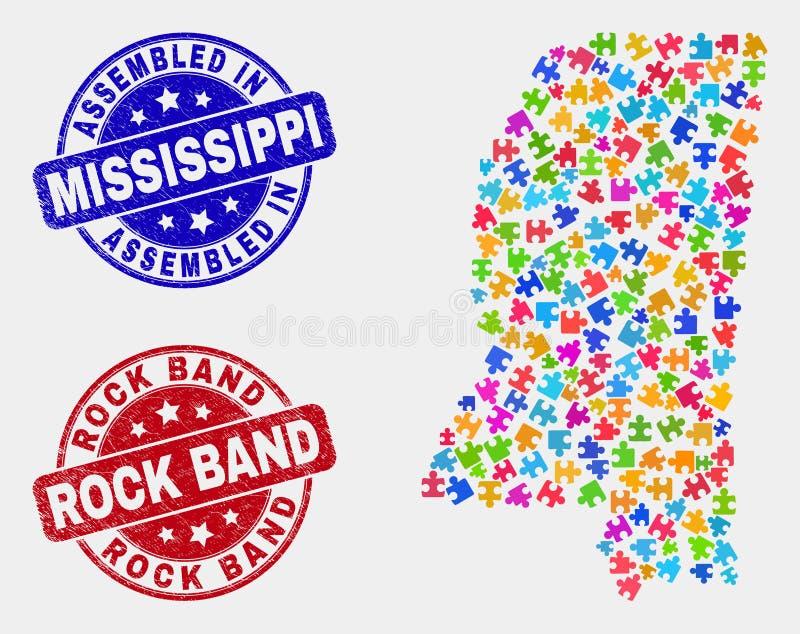 难题密西西比州地图和困厄被装配的和摇滚乐队封印 库存例证