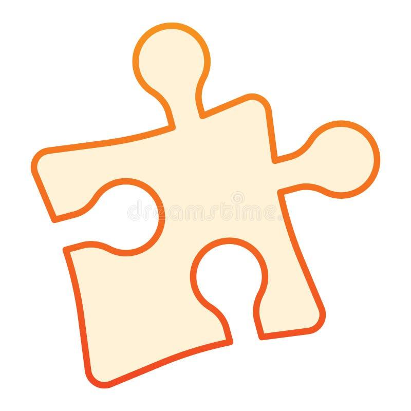 难题平的象 在时髦平的样式的曲线锯的橙色象 解答梯度样式设计,设计为网和应用程序 库存例证