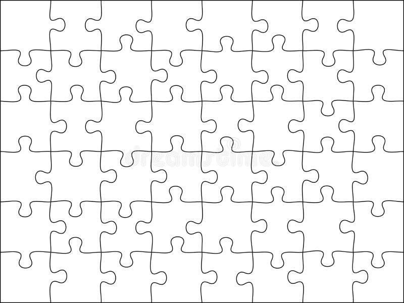 难题栅格模板 拼图48个片断、想法的比赛和8x6竖锯细节框架设计传染媒介例证 皇族释放例证