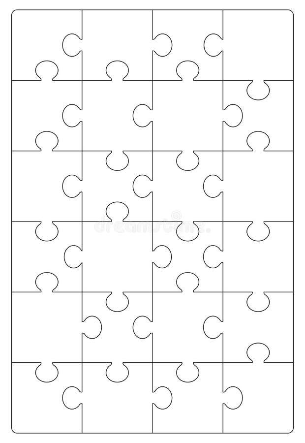 难题栅格模板 拼图24个片断 皇族释放例证