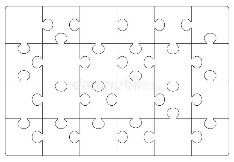 难题栅格模板 拼图24个片断 库存例证