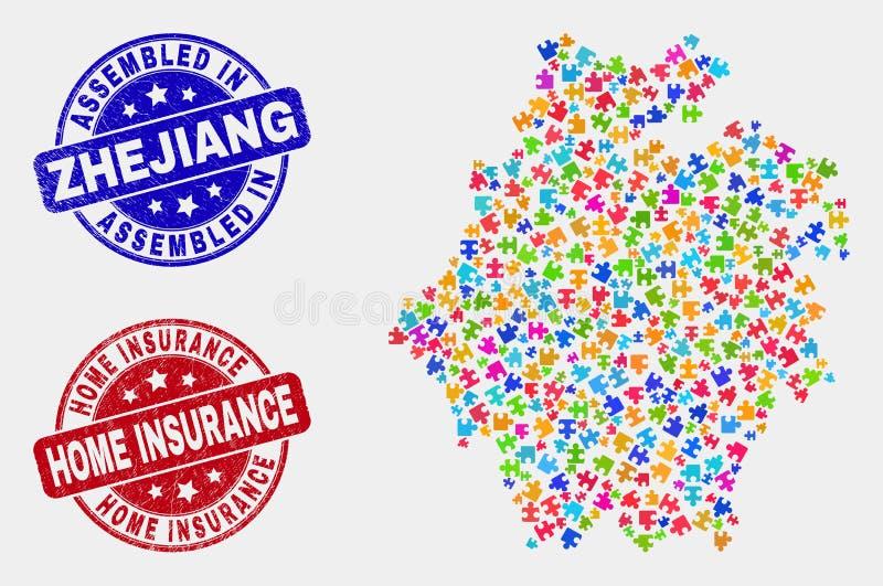 难题浙江地图和困厄被装配的和家庭保险封印 库存例证