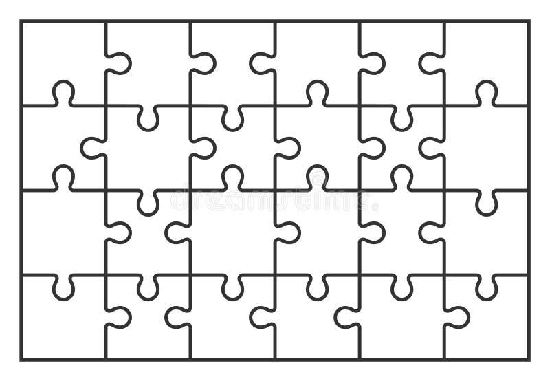 难题竖锯套在传染媒介的24个片断 库存例证