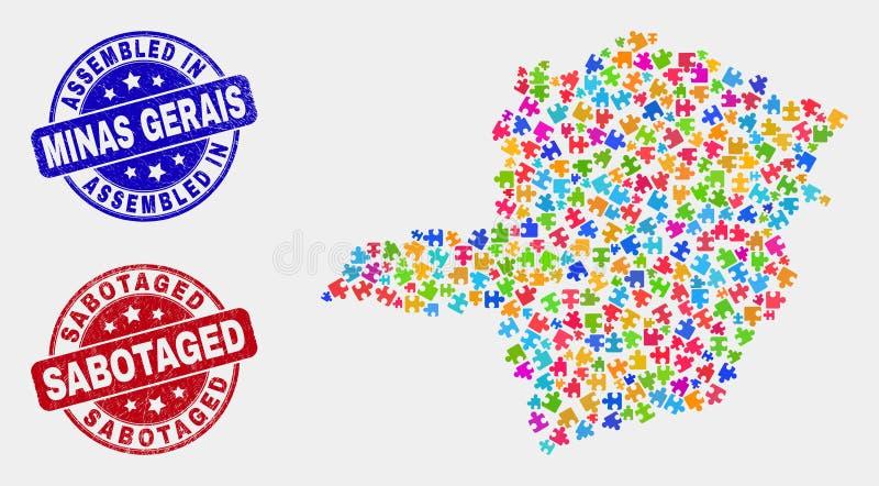 难题米纳斯吉拉斯州状态地图和困厄被装配的和被破坏的邮票封印 库存例证