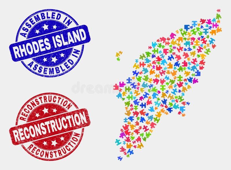 难题罗得岛海岛地图和难看的东西被装配的和重建封印 库存例证
