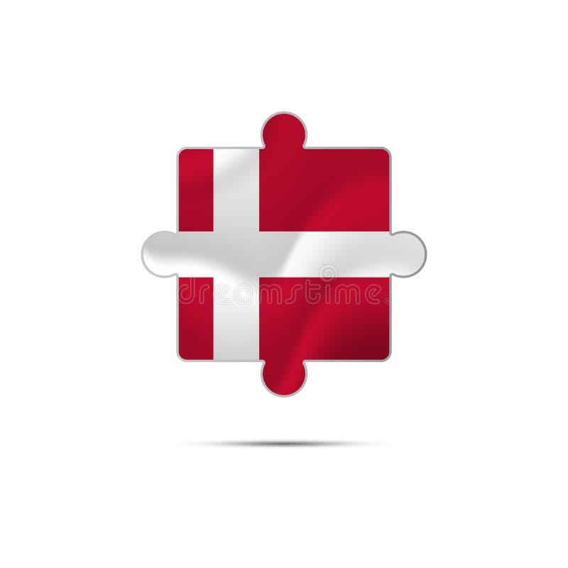 难题被隔绝的片断与丹麦旗子的 也corel凹道例证向量 库存例证