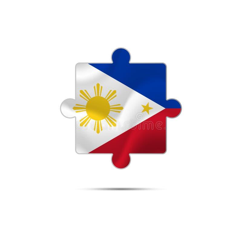 难题被隔绝的片断与菲律宾旗子的 也corel凹道例证向量 库存例证