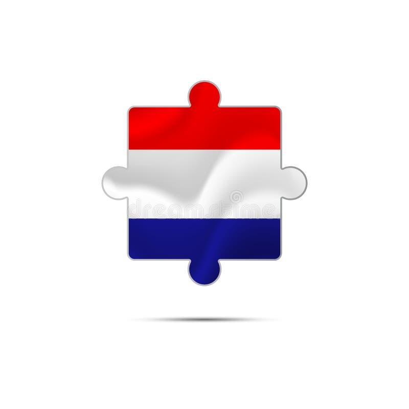 难题被隔绝的片断与克罗地亚旗子的 向量 向量例证