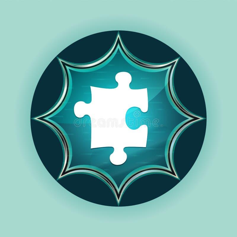 难题象不可思议的玻璃状镶有钻石的旭日形首饰的蓝色按钮天蓝色背景 向量例证