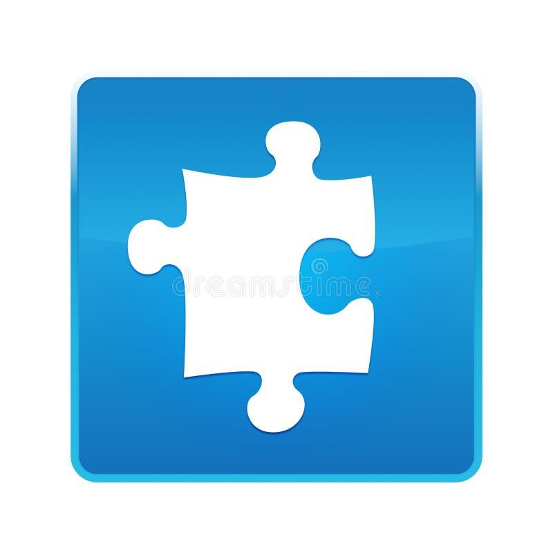 难题象发光的蓝色方形的按钮 库存例证