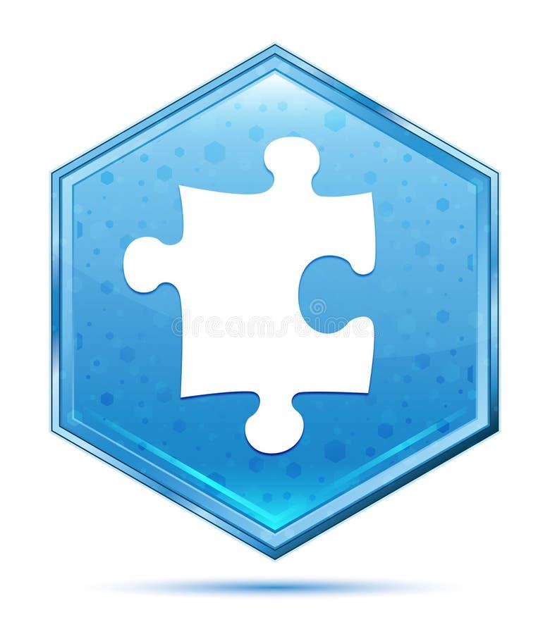 难题象水晶蓝色六角形按钮 库存例证