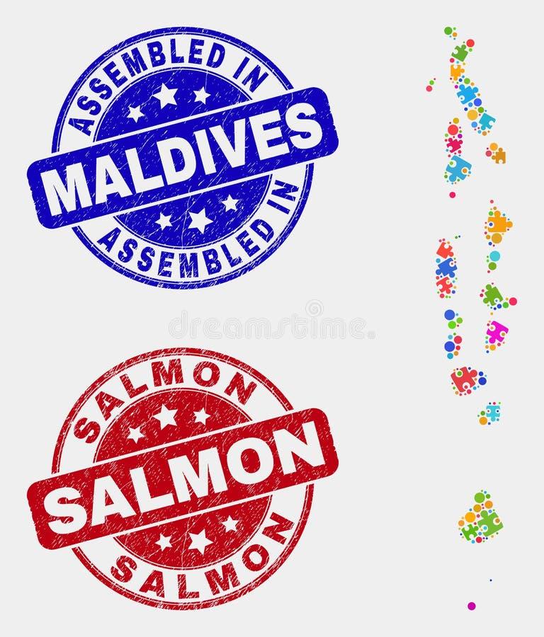 难题马尔代夫地图和难看的东西被装配的和三文鱼水印 向量例证