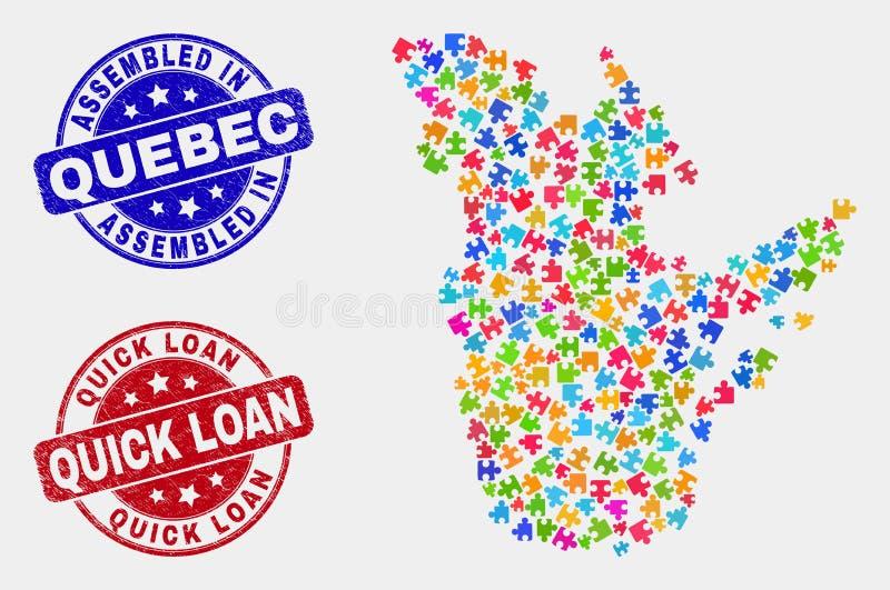 难题魁北克省地图和抓被装配的和快的贷款邮票 向量例证