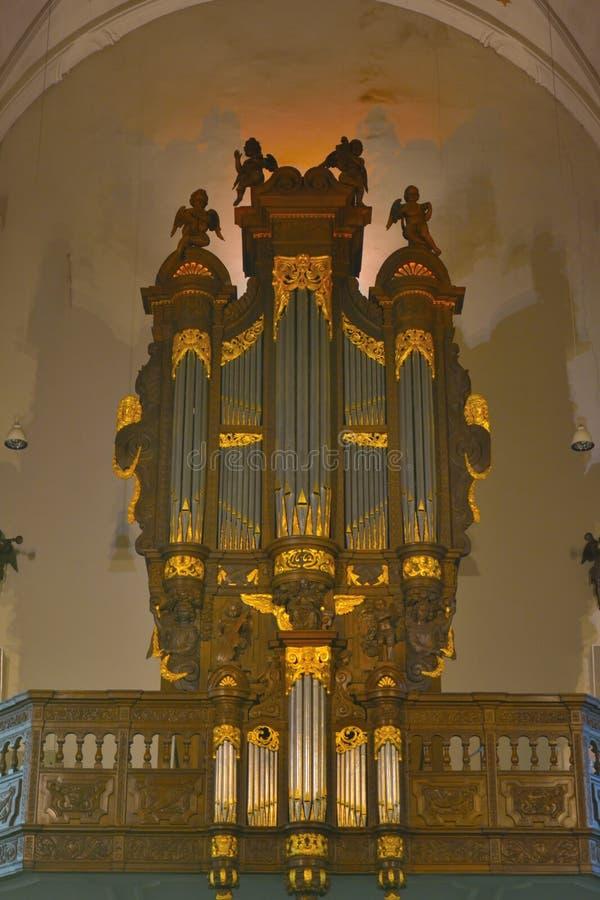 难以置信的器官在教会里 库存照片