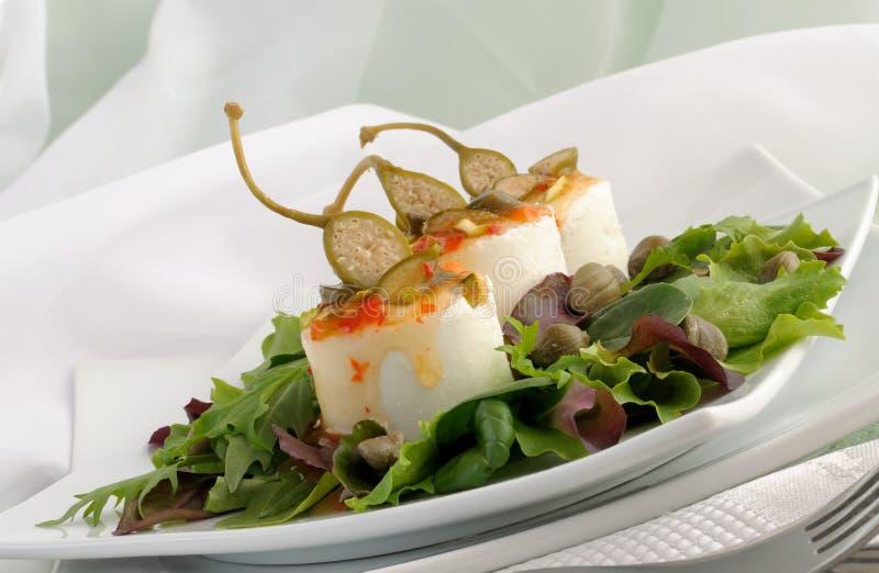 雀跃乳酪调味料酸甜点 免版税库存照片