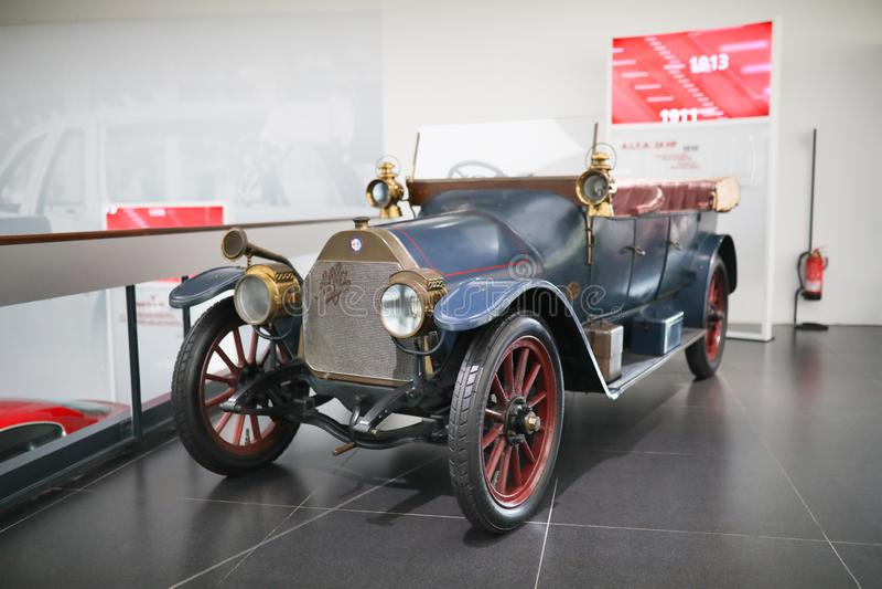 雄伟阿尔法・罗密欧在显示的24/10 HP模型在历史博物馆阿尔法・罗密欧 免版税图库摄影